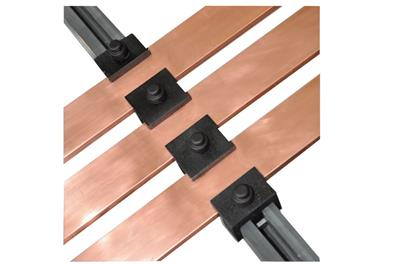 Ω Flat busbar support for copper and aluminium bars