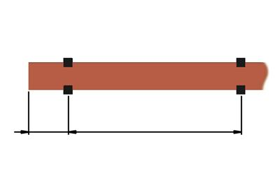 Distance between supports depending on Icc (short-circuit current)